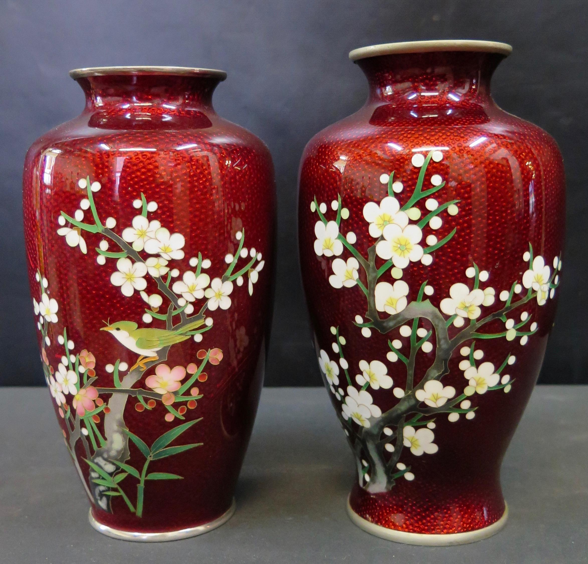 Vintage japanese red enamel vases lawrence j zinzi antiques inc vintage japanese red enamel vases reviewsmspy