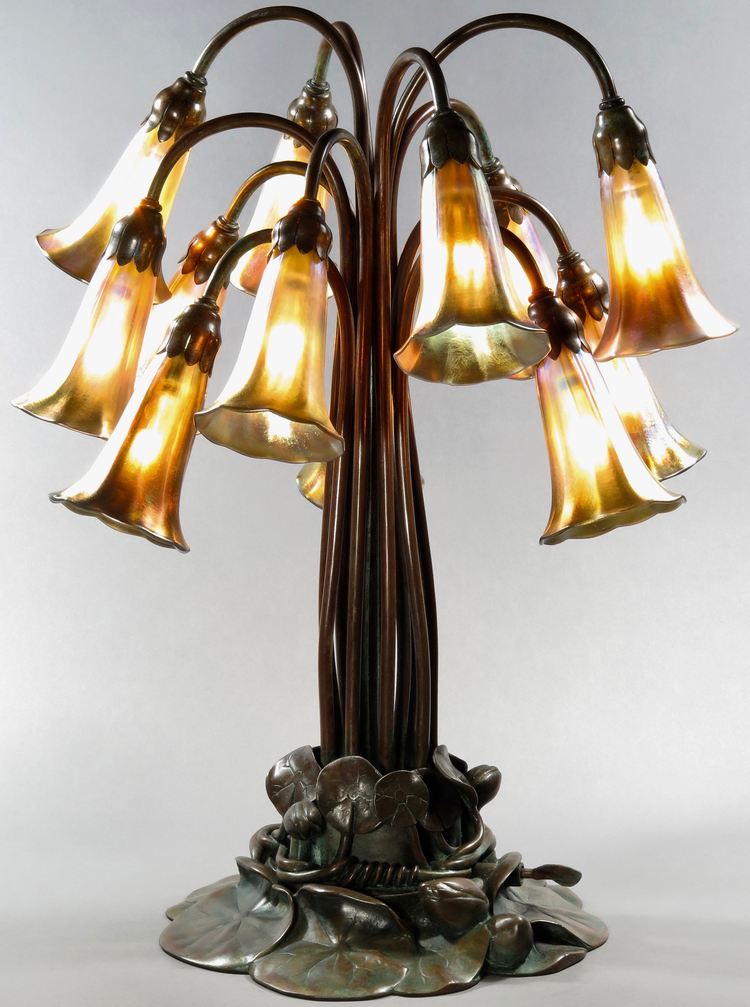 Tiffany Studios Patinated 12 Light Lily Table Lamp